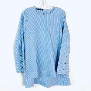 ZARA blue white striped hi low tunic blouse